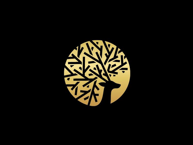 Arcadia Logo circular golden gold tree antlers deer mark logo