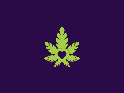 Cannabis Lovers negative space cbd oil dispensary green heart weed marijuana thc oil mark logo leaf icon hemp cbd cannabis