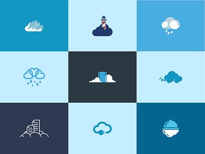 Cloud Chasing icon symbol mark rain cloud logo logotype logomark mistershot blue clouds cloud logos