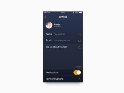 Settings — Daily UI #007 peru edit about lima edit profile iphone ux ui challenge dailyui daily settings