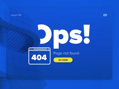 404 Page — Daily UI #008 blue wrong page peru challenge ux ui lima 404 dayli