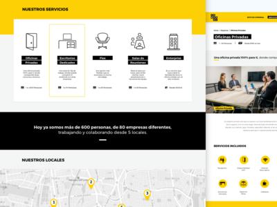 Comunal Coworking - Web Design map tabs black yellow lima peru bold ui photo design web coworking