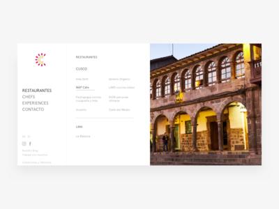 Cusco Restaurants - Web Design minimalist web sidebar restaurant peru lima food cusco clean