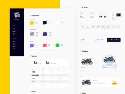 Somos Moto - Styleguide peru ux clean cards typography components uidesign motorbike interface blue ui system design yellow styleguide