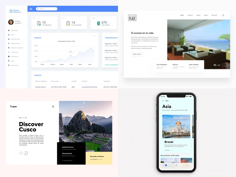 2018 Top 4 real state travel user experience peru lima motion ux design ui design ui clean app dashboard interaction animation app