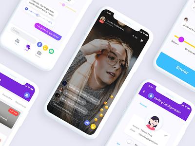 App Project Mas que un Polvo behance project peru lima tab bar emojis illustration ios form profile card forum live chat transmition live clean ux  ui ux design app