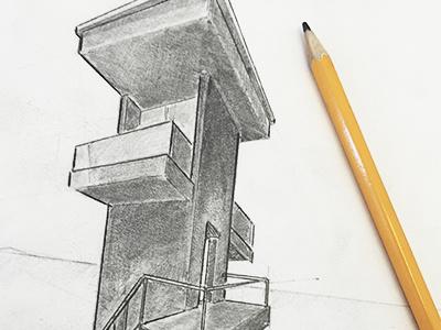 Tower drawing pensil