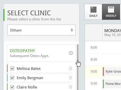 UI for a healthcare booking system ui ux gui healthcare user interface flat