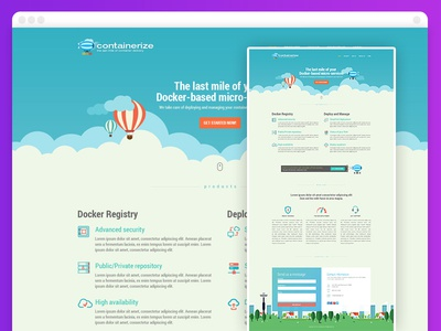 Containerize - single page website design bootstrap responsive single page design one page website mockup user interface