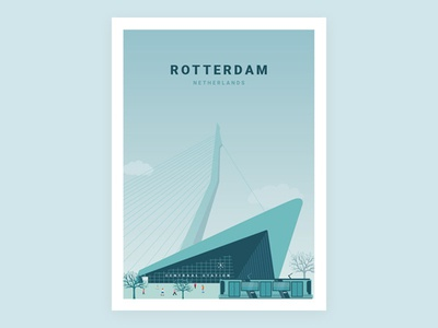 Illustration - Beautiful city Rotterdam netherlands rotterdam poster illustration