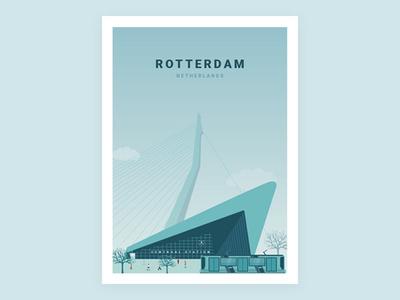 Illustration - Beautiful city Rotterdam netherlands rotterdam poster illustration