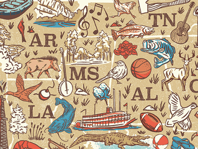 Southern Map south carolina tennessee alabama georgia type apparel fish trout icons illustration southern south