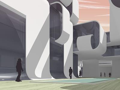 Ribbon City: Courtyard clouds city urban design illustration architectural illustration architectural visualization architectural rendering architectural design architectural architecture architect 3d