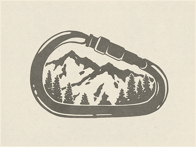Carabiner Mountains outside outdoors ink illustration apparel design wilderness adventure colorado carabiner mountains mountain