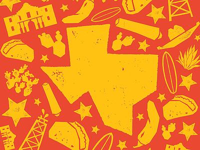 Tex Mex Wallpaper illustration icon ink blockprint fiesta surf papercut mexico texas texmex