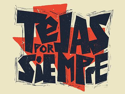 Tejas por Siempre illustration icon ink blockprint fiesta surf papercut mexico texas texmex