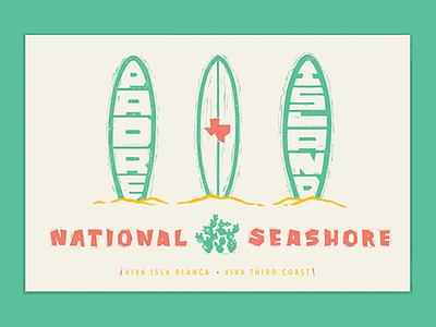 Type Hike: Padre Island National Seashore illustration icon ink blockprint fiesta surf papercut poster mexico texas texmex