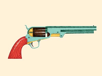 Revolver kidlit illustration texture cowboy pistol vector digital western gun revolver