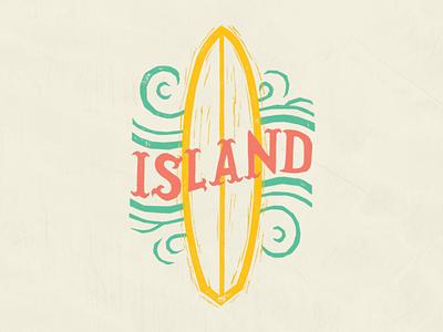 Island Time illustration type kidlit ink blockprint fiesta typography papercut mexico texas texmex