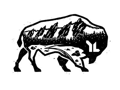 Flatirons Buffalo wilderness adventure texture bw graphic design apparel boulder buffalo colorado flatirons