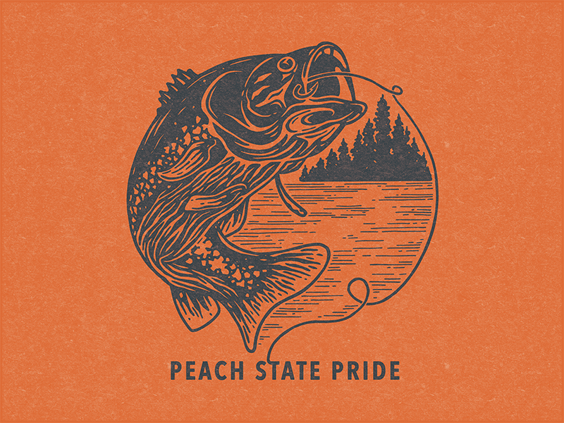 Peach State Pride: Bass illustration lake texture fishing peach georgia bass