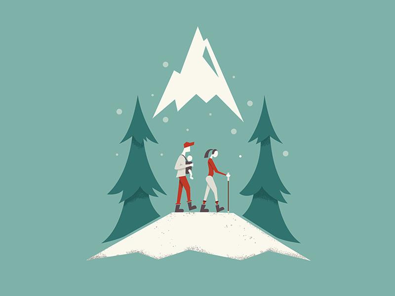 Christmas Card illustration digital hiking family mountains merry holiday holidays christmas