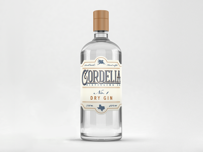 Cordelia Distilling Co. bottle packaging craft victorian western logotype logo distilling texas liquor spirits gin