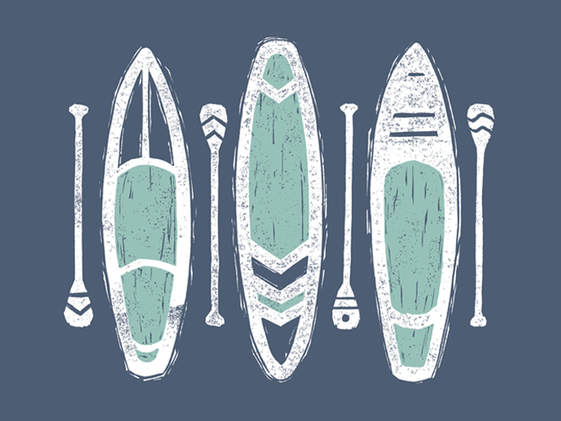 Paddle Boards adventure illustration design linocut texture supboard sup paddleboards boards paddle