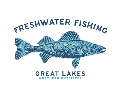 Great Lakes Co. texture walleye fish outfitter northern fishing freshwater lakes great
