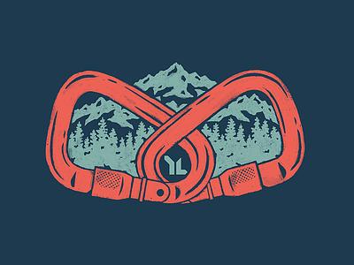 On Belay design apparel texture camp colorado rock climbing trees mountain mountains carabiners belay