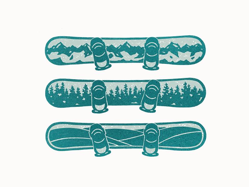 Snowboard Stack skiing ski trees procreate design apparel winter snow snowboard mountain