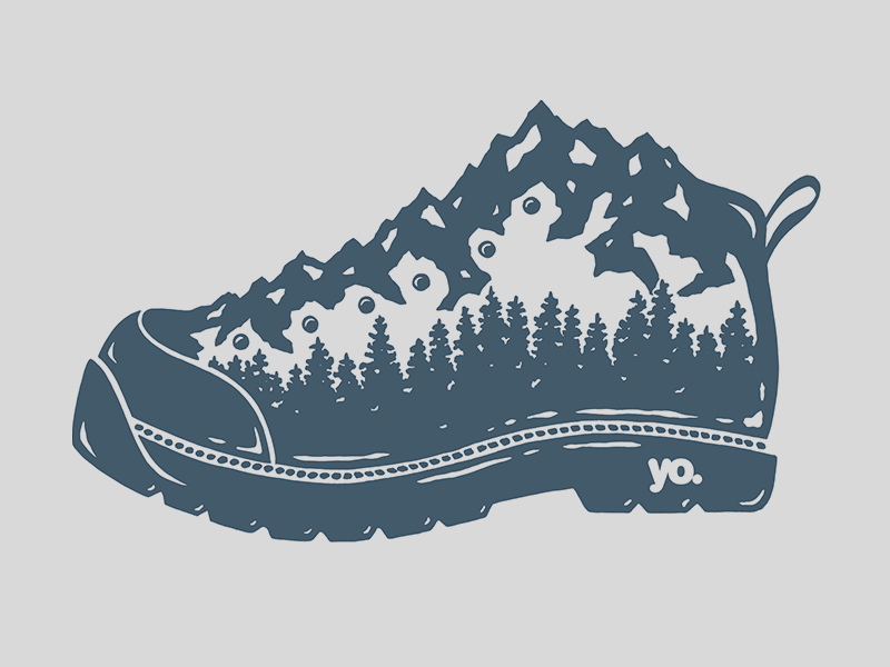 Mountain Boot vector mountains illustration trees apparel design ink adventure colorado hiking boot mountain