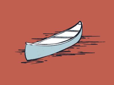 Canoe adventure trout fish river brush procreate water vintage icon canoe