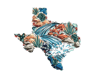 Texas River illustration design apparel adventure cactus yall south western fish float rivers river texas
