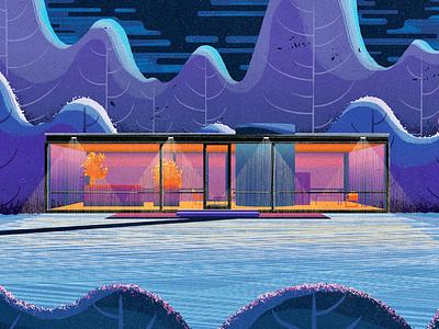 Glass House architect light trees digillo procreate photoshop illustrator illustration arch architectural architecture house glass