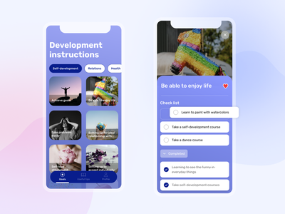 Self-development app mobile ui mobile app design mobile app todo app todolist goals enjoy the moment enjoy health app health self-care best shot creative clean ui app concept design