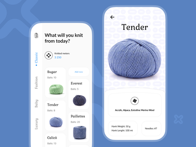 Knit mobile app concept product page cards ui minimalistic light clean mobile app design mobile design mobile ui knitted knitting typogaphy ux ui app concept design