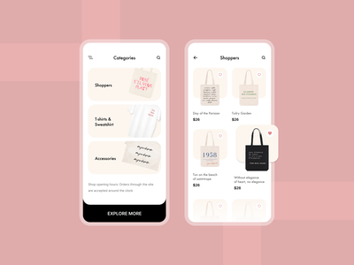 Ecommerce app brand design ui ux light modern bussiness mockup bag mobile ui stuff categories products shopper app concept mobile app design ecommerce