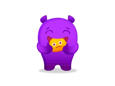 Woory Eater worry icon vector monster logo chracter cute kids illustration