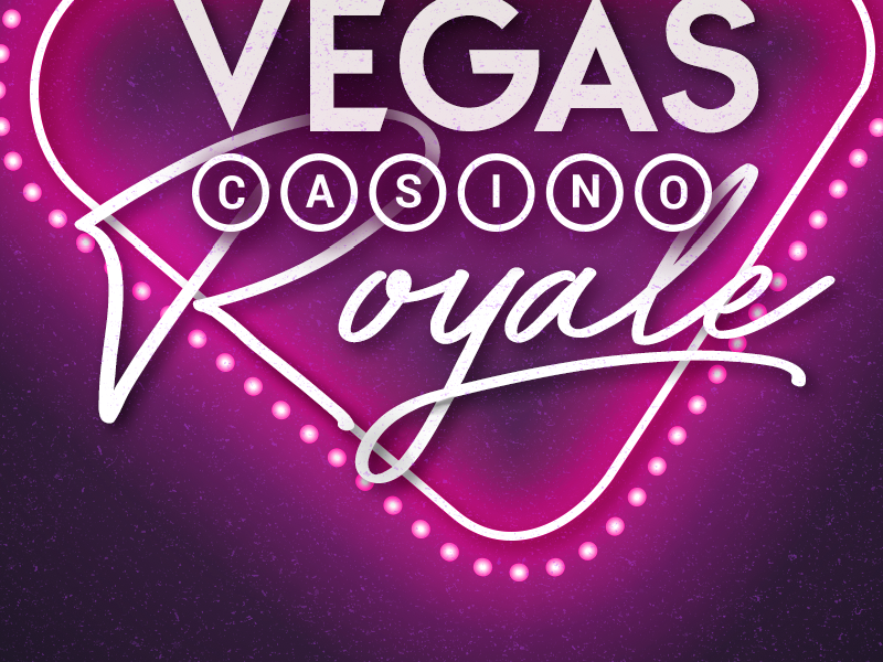 Casino Royale print neon typography invitation poster vegas casino