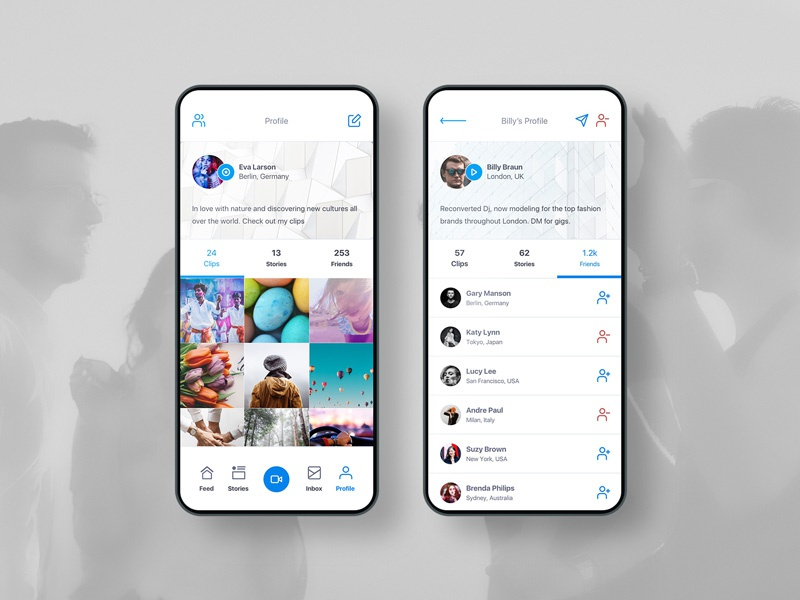 Profile UI product social app social profile art direction ux design creative visual app clean mobile ui interface