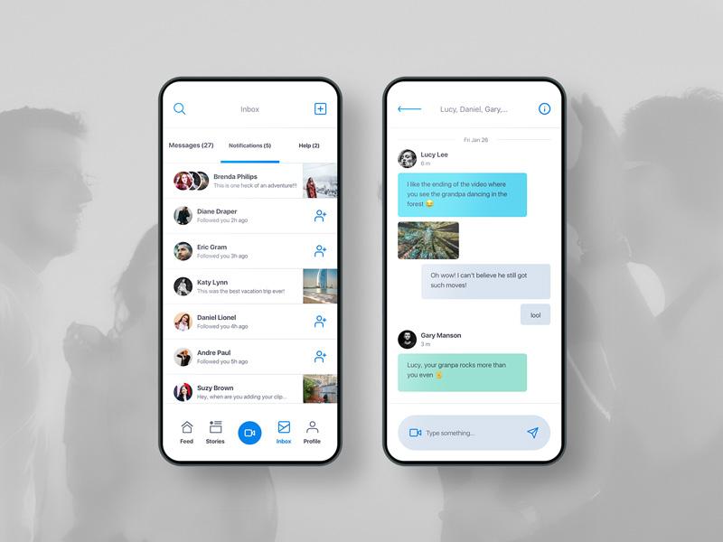 Messaging UI Design art direction creative clean interface message app screen design ux ui app mobile messaging