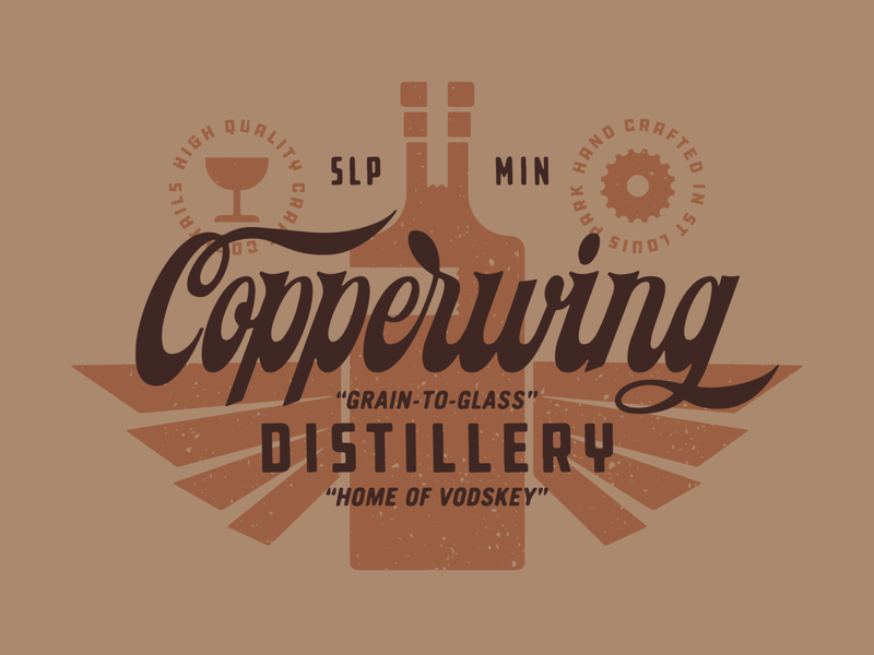 Project Proceed | Copperwing Distillery handlettering spirits minnesota badge bottle distillery type lockup lettering script