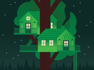 Tree Housin' geometric architecture house tree stars night illustration camp nature treehouse