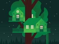 Tree Housin' geometric architecture house tree stars night illustration camp nature treehouse