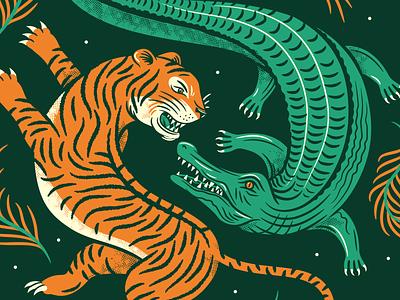 Cat Meets Lizard ipa fight battle beer brewery plant fern alligator tiger vector illustration
