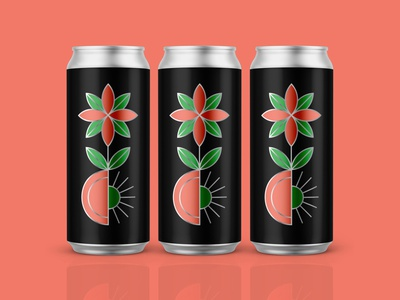 ALL IN icon illustration womxn equity beer pale ale peach flower branding packaging brewing