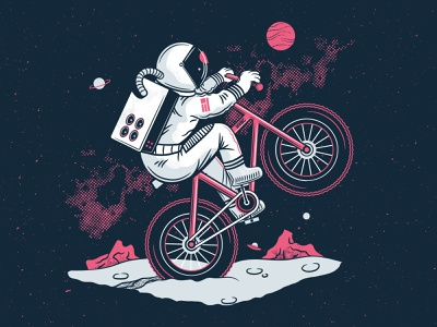 Space Wheelie spacex vector illustration pink guava sour beer brewery space wheelie bike astronaut