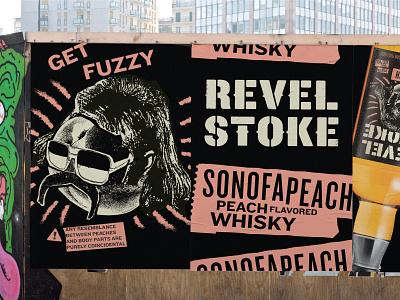 Revel Stoke Whisky copywriting disclaimer danger signage billboard poster logotype branding portfolio alcohol collage illustration zine punk spirits whiskey whisky