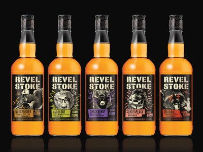 Revel Stoke Whisky spirits logotype rebrand minnesota dumb wild zine punk illustration collage label bottle portfolio packaging whisky whiskey branding